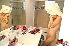 Naked In Bathroom Hair Wrapped In Towel Looking Into Mirror