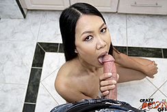 Kneeling On Bathroom Floor Licking Big Cock