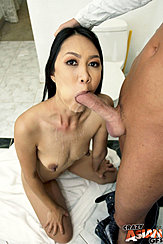 Kneeling Naked Sucking Spent Cock Cum Over Her Breasts Long Nipples