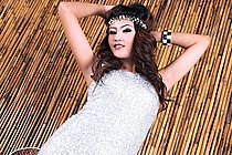 Beauty Hannah Lee Posing In Silver Dress And High Heels