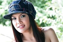 Handygirl beauty Fon Nisa stripping outdoors with tools