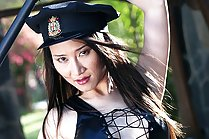 Beauty Sophia Chui strips policewoman outfit and spreads legs