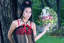 Pretty Focus Wan Stripping Black Lingerie Outdoors