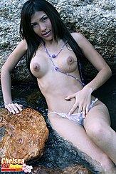 Chelsea Sitting In Water Topless Hand In Panties
