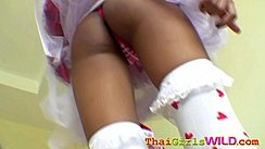 Raising Her Skirt Over Her Ass In Thong Panties