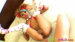 Air Lying On Bed With Her Legs Raised Shaved Pussy Creampied