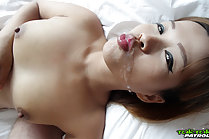 Woaw strips black dress and gets fucked and takes facial cumshot